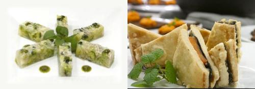 野菜のゼリー寄せ(左)、高野豆腐と冬野菜のはさみ揚げ(右)