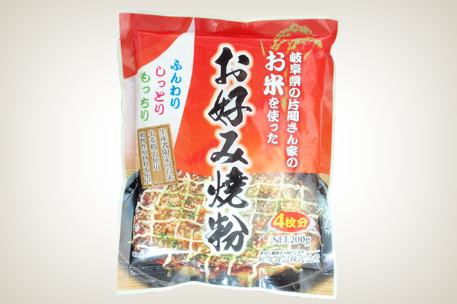 お米を使ったお好み焼粉(桜井食品)